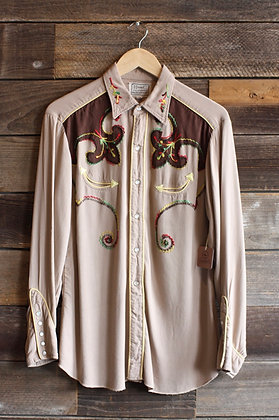 '50s/'60s H Bar C Embroidered Gab Pearl Snap | Men's M/Women's L