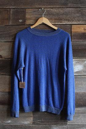 '60s Blue & Grey Striped Knit Sweatshirt | Men's M
