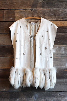 '80s White Leather Rabbit Tail Rhinestone Vest | One Size Fits Most