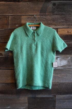 Vintage Green Angora Short Sleeve Sweater | Women's L