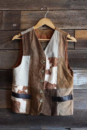 Vintage Faux Cowhide Patchwork Vest | Men's XS/Women's M