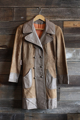 '60s/'70s Leather & Suede Coat | Small