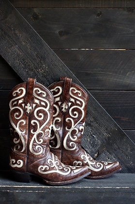 Tony Lama Brown & Ivory Inlay Cowgirl Boots   5.5
