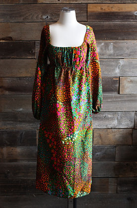 '60s Neon Floral Peasant Maxi Dress   S