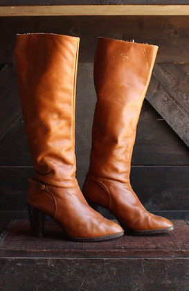 '70s German Knee High Leather Boots - 6.5