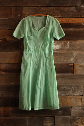 '50s Sheer Mint Dress - Large