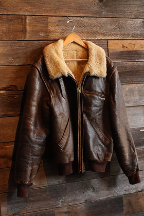 '80s Banana Republic Shearling Leather Bomber - Size 46