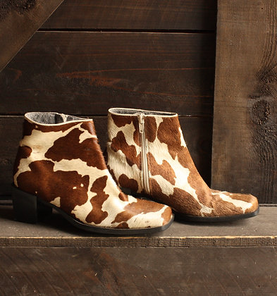 Vintage Pony Hair Cow Ankle Boots - 5 1/2