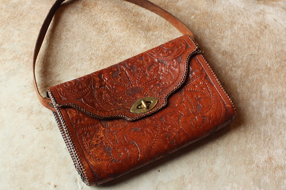 1960s Chestnut Tooled Leather Purse