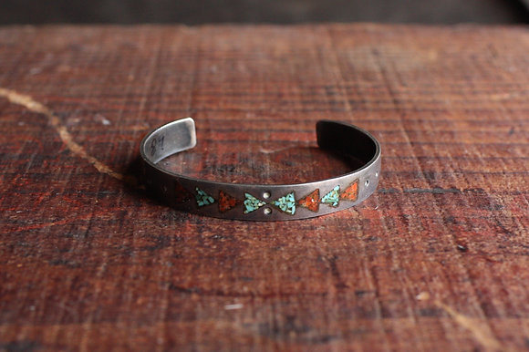 Vintage Turquoise & Coral Chip Inlay Arrow Cuff
