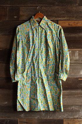 '60s Multi Color Zip Shift Dress - Medium