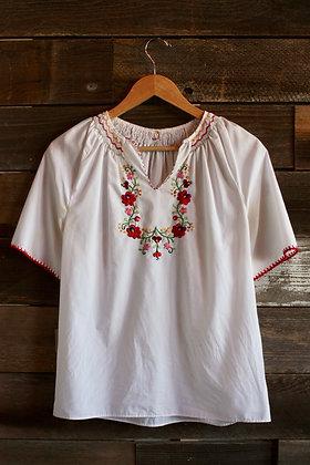 '70s Embroidered Peasant Blouse   Medium/Large