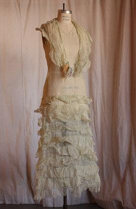 Antique Organza Sheer Mint Dress - Small/Medium