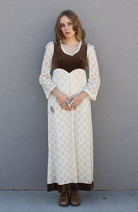 '70s Eyelet Lace Prairie Dress | Small