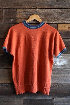 '60s Burnt Orange Short Sleeve Ringer Sweatshirt   Men's L/Women's XL