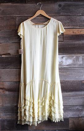 '20s Pale Yellow Silk Dress |
