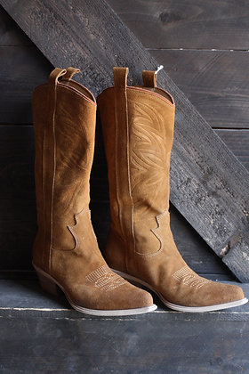 Vintage Italian Made Suede Cowgirl Boots | 6.5