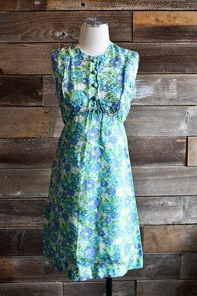 '60s Blue & Green Floral Mini Dress   S