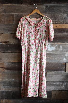 '40s Floral Semi Sheer Dress   XL