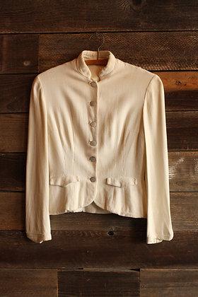 '40s Linen Peplum Blouse w/ Mother of Pearl Buttons - Women's Small
