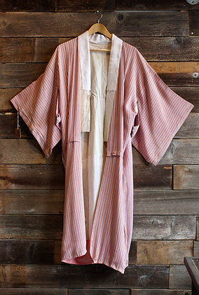 Vintage Striped Silk Kimono | One Size Fits Most