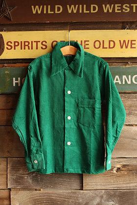 '50s Boyville Green Corduroy Loop Collar Button Up - Kid's 10