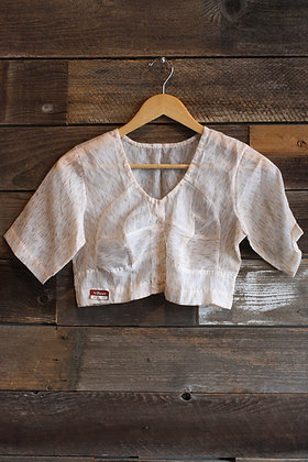 '60s Deadstock Sheer Cropped Blouse | M
