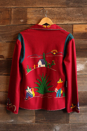 '40s/'50s Mexican Embroidered Wool Souvenir Jacket - Women's Small/Medium