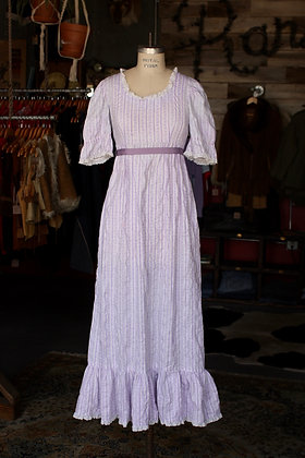 '60s Purple Empire Waist Prairie Dress - Small/Medium