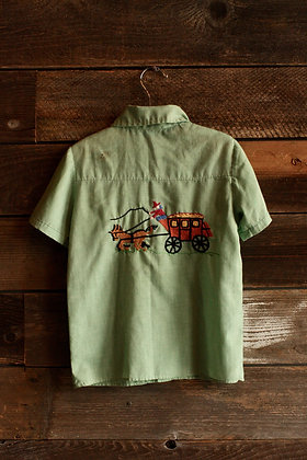 '60s/'70s Handmade Embroidered Green Button Up - Kid's 10