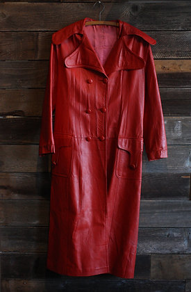 '60s Red Leather Trench | Women's Small
