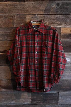 '70s Pendleton Red/Grey Tartan Wool Flannel | Men's Medium
