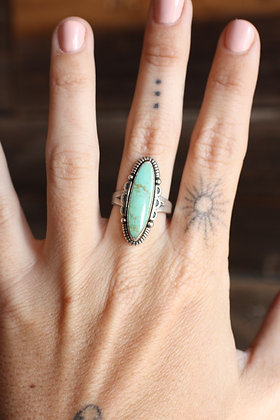 Vintage Pale Green Turquoise Oval Ring   7