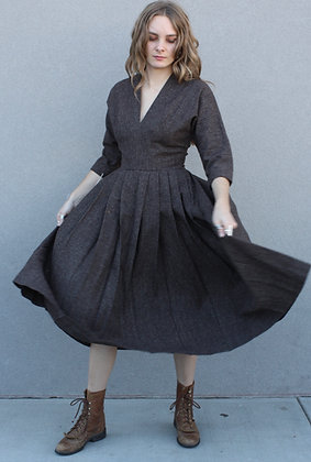 '40s Brown Wool Pleated Dress | X-Small