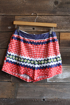 "'60s Cotton Picnic Shorts | 26"""