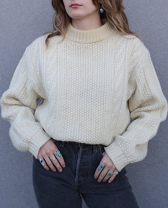 Vintage Ivory Fisherman Knit Sweater   Men's M/Women's L