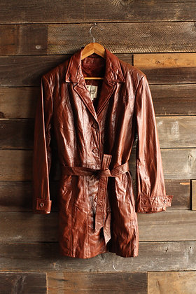 '70s/'80s Berman's Leather Belted Faux Fur Lined Coat - Women's Medium/Large
