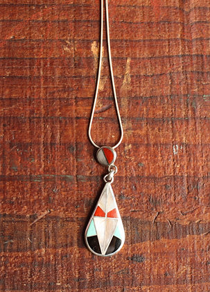 Vintage Zuni Teardrop Inlay Pendant Necklace