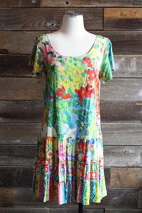 '80s Colorful Drop Waist Rayon Dress | M