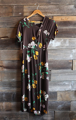 '40s Bloomfield Umber & Mustard Floral Rayon Dress | M