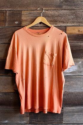 '70s Sun-Faded Tangerine Paper Thin Pocket Tee   Men's XL