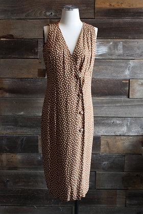 Vintage Brown Polka Dot Asymmetrical Dress   L