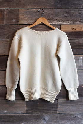 '30s/'40s Hand Knit Eggshell Sweater - Medium
