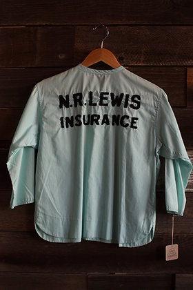 '60s Teal Chainstitch Embroidered Bowling Shirt | Small