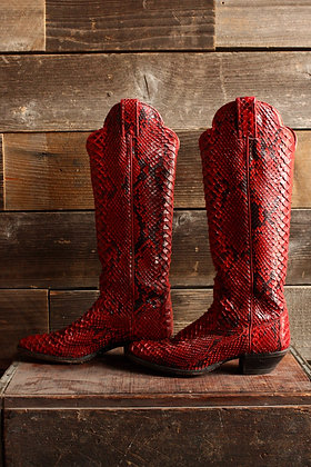 Justin Red Genuine Snakeskin Cowgirl Boot - 5.5