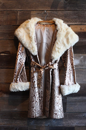 Vintage Snakeskin Print Mink Belted Coat | Women's Medium