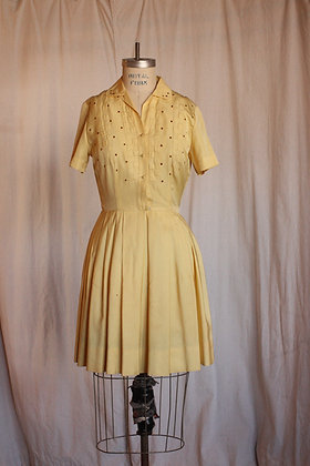 '50's Yellow Silk Dress - Small