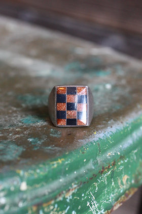 Vintage Goldstone & Onyx Checkerboard Ring   11