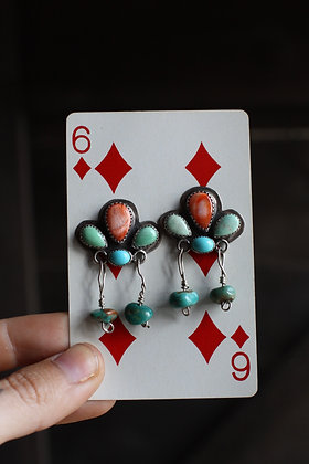 Vintage Spiny Oyster & Turquoise Earrings