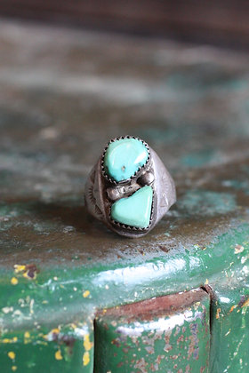 Vintage Double Stone Turquoise Ring | 9